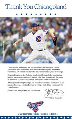 Ryan Dempster's full page thank-you ad in the Chicago Tribune on Friday