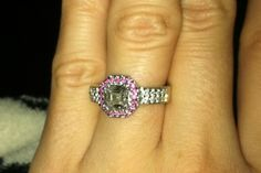 engagement bling with a pink halo—so unique!