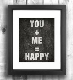Valentines Quote print typographic poster black by Happy Letter Shop