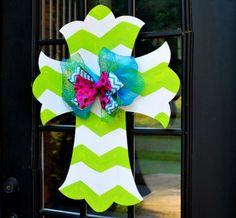 Door Hanger: Chevron Cross, Summer Wreath, Wall Cross, Hand painted wooden cross, Summer Door Hanger on Etsy, $45.00