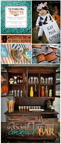 Monster Halloween Party using teal orange and black hues