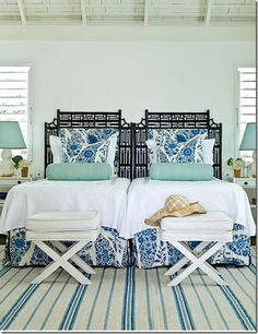 My future beach house....Chinoise bedroom.  Blue + green + pattern