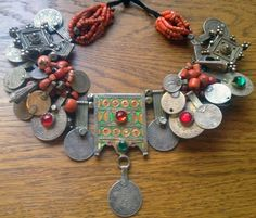 Africa | A silver, enamel, coral and glass Berber necklace. | 1000$