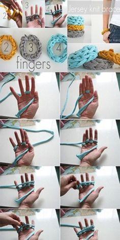 finger knit bracelet
