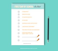 First Day of School Checklist Printable