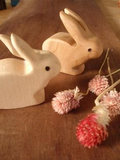 Hand Carved Woodland Bunny