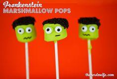 Easy Frankenstein Marshmallow Pops for Halloween