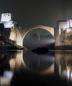 The bridge connecting Mostar, Bosnia and Herzegovina