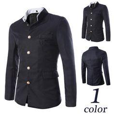 Gold Button Asian Collar Blazer Jacket | Sneak Outfitters