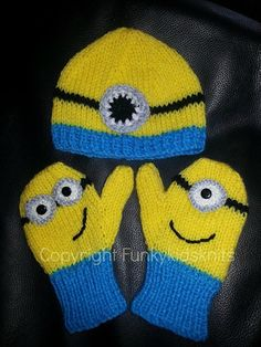 Hand Knitted Despicable Me Minion Hat and Mitten Set