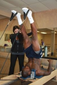 NFL player Martellus Bennett keeps himself game-ready with Pilates. ~EXCELLENT article!