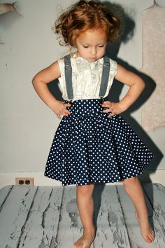 Suspenders & a polka dot skirt!