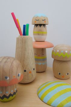 hand-painted wooden mushrooms by beci orpin