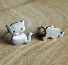 Cat and Mouse earring studs by Fingerprince on Etsy, $30.00
