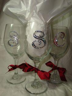 Rhinestone Monogrammed Wine Glass by ChicExpressionCards on Etsy. $10.00 USD, via Etsy.