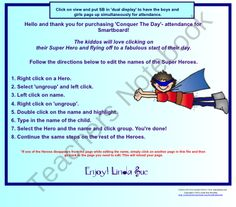 Super Hero Conquer The Day-SmartBoard Attendance from BestofBothWorlds on TeachersNotebook.com -  (5 pages)  - Super Hero SmartBoard Attendance