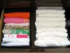 Use old shoe boxes as drawer organizers. #DIY #closet #storage #foldedclothes