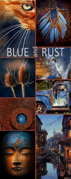 Blue and rust palett