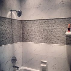 Porcelain Penny Round Mosaic Tile in the shower.