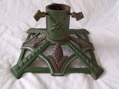 Beautiful Vintage Green Cast Iron Art Deco Christmas Tree Stand Made in Germany