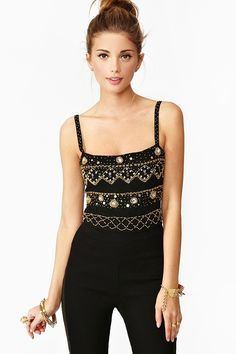 Cleo Beaded Crop Tank in Clothes Tops at Nasty Gal
