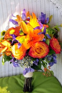 purple and orange bouquet