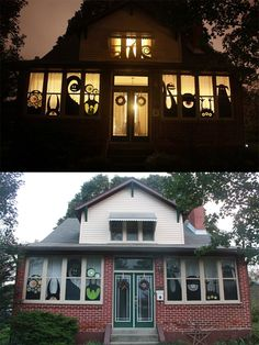 holiday, halloween decorations, silhouett, houses, halloween idea, halloween house, windows, monsters, cut outs