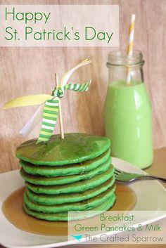 Green Pancakes & Milk for St. Patrick's Day Breakfast
