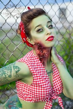 @Susan Caron Christensen - you could do this w/o having a half shirt but a jean skirt or cut off jean shorts??     Zombie Pinup Photography In Lexington, KY | Paskey Photo & Boudoir