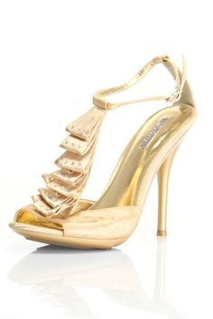 Great Ruffled Satin T-Strap Ankle-Strap Sandal In Gold http://www.beyondtherack.com/member/invite/B7C53751