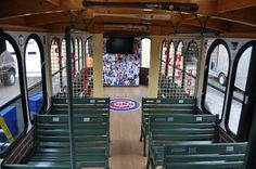 A sneak peak inside the #Cubs trolley with its signature Cubs landmarks and memorabilia.