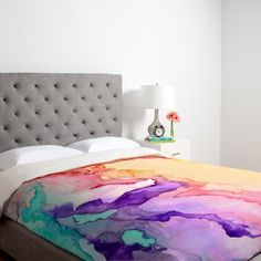 Duvet Cover | Modern Bedding | Upholstered Headboard | Watercolor Trend | Colorful Wallpaper | Abstract Pattern | Home Design