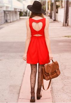 Heart Cut Out Pleated Dress in Red
