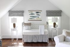 We love this take on a nautical nursery, so calming and serene!