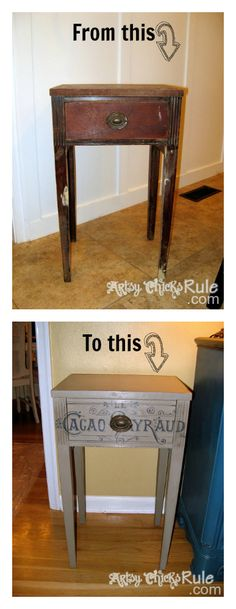 Coco Side Table Redo - $7 garage sale find....transformed with Chalk Paint and a graphic!!! #chalkpaint #graphics