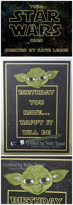 Stampin' Up! Star Wars Yoda card created by Katie Legge #StarWars #Yoda #StarWarsDay http://rachelleggestampinup.wordpress.com/2014/05/04/may-the-4th-be-with-you/