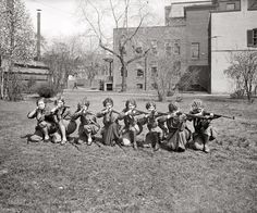 """1925. """"Girls' rifle team, University of Maryland."""" National Photo. via Shorpy"""