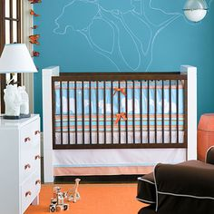 teal and orange baby bedding