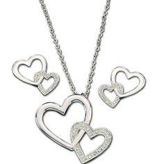 Montana Silversmiths Women's Double Heart Jewelry Set  #jewelry #heartnecklace #heartearrings