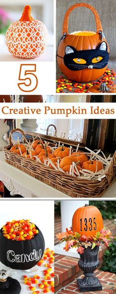 5 Creative Pumpkin decorating ideas that you can do with real and fake pumpkins.