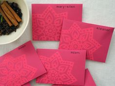 Notecards, envelopes, wood black stamp, ink, brayer and stamps = awesome notes/invitations from Oh Happy Day