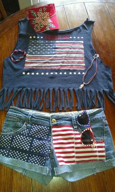 My DIY 4th of July t-shirt and shorts