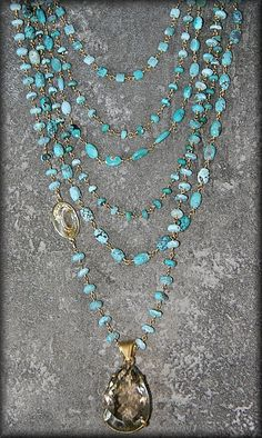 Safia Day 7 Turquoise Necklace with Citrine Drop