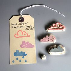 happy clouds hand carved stamp set via Etsy