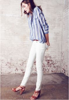 shoes, cloth, stripe shirt, white shirts, spring summer, outfit, sandal, closet, white jeans