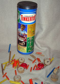 Vintage 1960s Tinker Toys ~ wooden.... Didn't have them but loved to play with them! It's a wonder my kids didn't have them since I always wanted them as a kid!