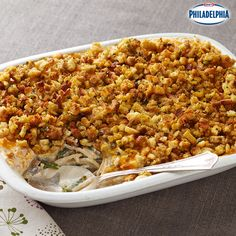 This Creamy Stuffed- Topped Turkey is a great make-ahead stuffing recipe: turkey, green beans, mushrooms, and even spaghetti lie under a bed of the classic side dish. The kids will love picking out each new ingredient!