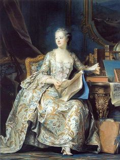 Maurice Quentin de la Tour (1704-1788) Madame de Pompadour (1751-1755) Pastel op blauw papier 175 x 128 cm - Het Louvre