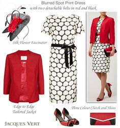 Jacques Vert Cream and Black Blurred Spot Print Dress and Red Edge to Edge Shantung Jacket. Complete with coordinating colour block clutch, peep toe shoes and silk flower fascinator.