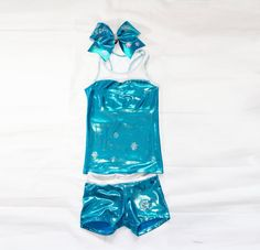 Frozen Elsa Inspired Workout Set Includes Tank, Shorts and Bow on Etsy, $60.00